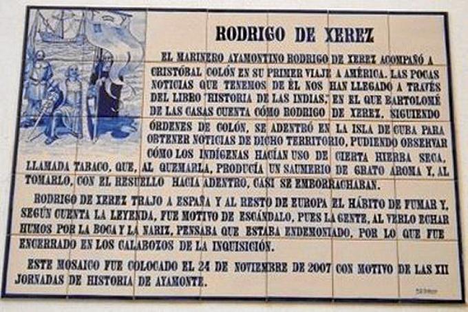 Placa inaugurada el 24 de Noviembre de 2007 en Recordación del Navegante Rodrigo de Xerez